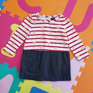 GAP hearts and stripes dress, size 18-24 mos